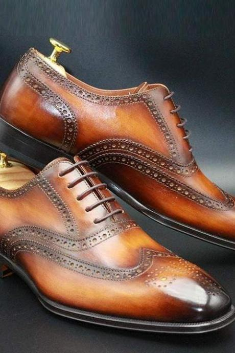 Handmade Men Tan Brown Leather Shoes, Men Wing Tip Brogue Dress Lace Up Shoes
