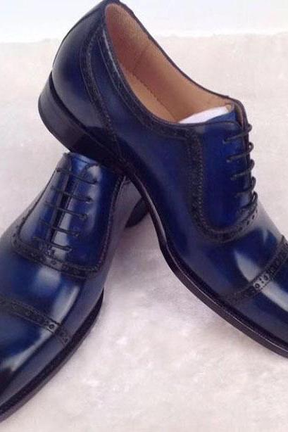 Handmade Men Navy Color Leather Shoes, Men Cap Toe Dress Formal Lace Up Shoes