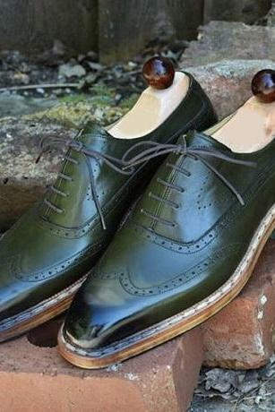 Handmade Men Wing Tip Brogue Shoes, Men Green Leather Lace Up Shoes