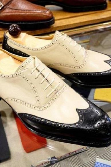 Handmade Men Beige & Black Wing Tip Brogue Leather Formal Dress Fashion Shoes