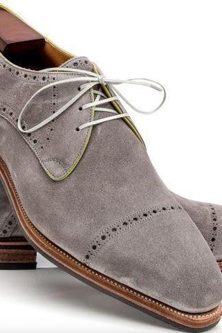 Handmade Men Oxford Suede Gray Color Lace Up Leather Shoes, Men Dress Shoes