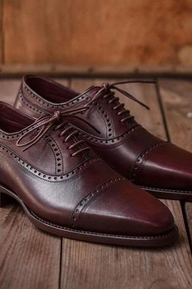 Handmade Men Party Wear Genuine Leather Maroon Brown Color Oxford Men Shoes