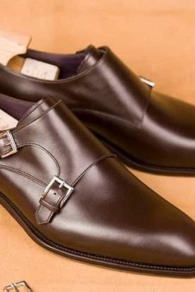 Handmade Men Brown Leather Double Monk Strap Shoes, Men Dress Brown Shoes