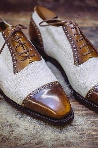 Handmade Men two tone leather lace up dress shoes beige and brown toe cap shoes