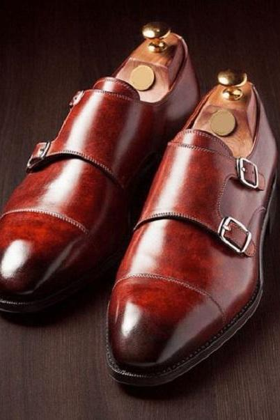 Handmade Men Leather Blood Double Monk Shoes for Men Custom Made Shoes