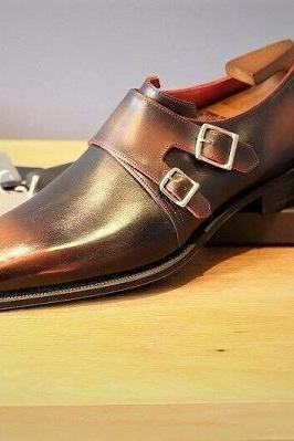 Handmade Men double monk strap shoes custom made men shoes