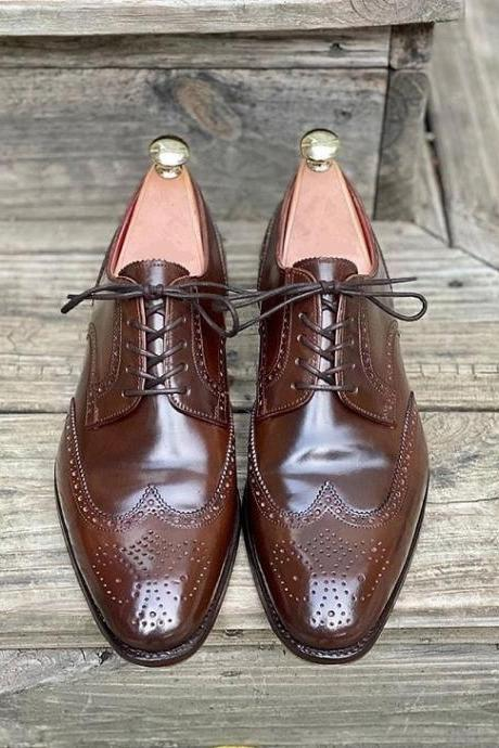 Handmade Men Ox Blood Brogue Oxfords Leather Dress Formal leather Shoes