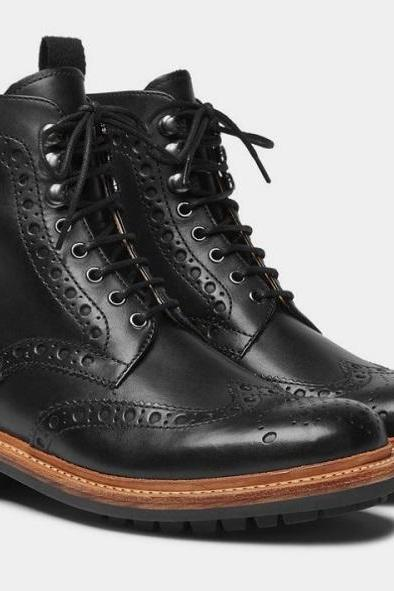 Handmade Men Black Leather Rubber Wingtip Lace Up Military Casual Boot