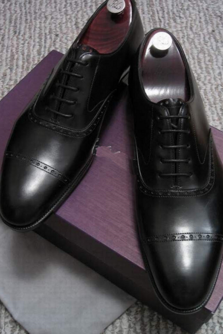 Handmade Men Black Leather Cap Toe Lace Up Wedding Conference Formal Shoes