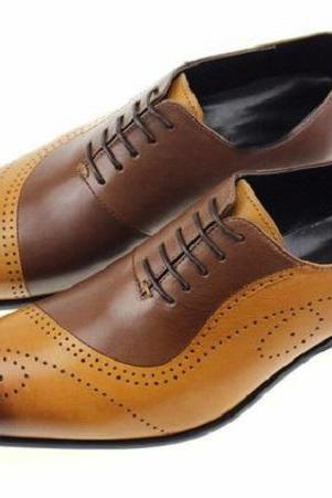 Handmade Men Classic Tan Brown Tone Lace Up Custom Dress Formal Shoes