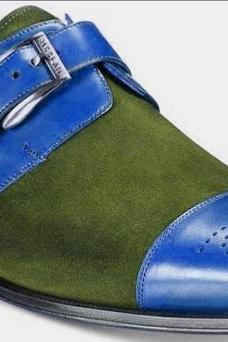 Handmade Men Brogue Handmade Blue Green Leather Suede Customize Designer Monk Strap Shoes
