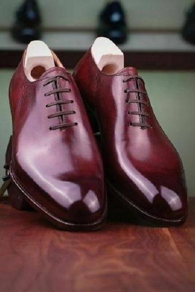 Handmade Men Oxford Maroon Lace Up Shoes, Custom Made Fashion Men Shoe