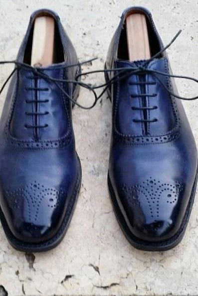 Handmade Men Brogue Shoes, Men Navy Blue Leather Lace Up Dress Shoes