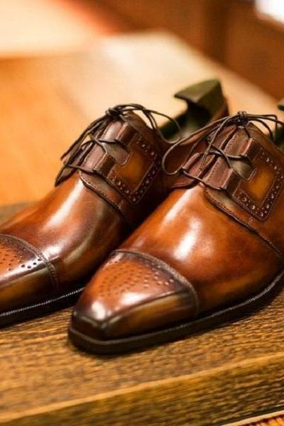 Handmade Men Dress Tan Patina Oxford shoes, Men unique leather shoes