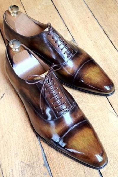 Handmade Men Tan Classic Oxford dress shoes, New unique leather shoes