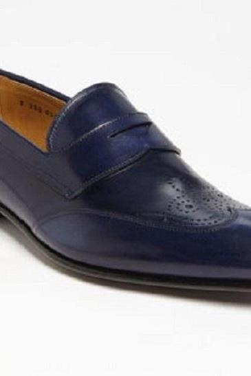 Handmade Men Blue color Leather Penny Slip On Formal Dress Shoes