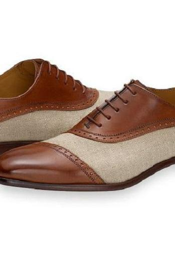 Handmade Men Beige & Brown Leather & Tweed Cap Toe Lace Up Dress Shoes