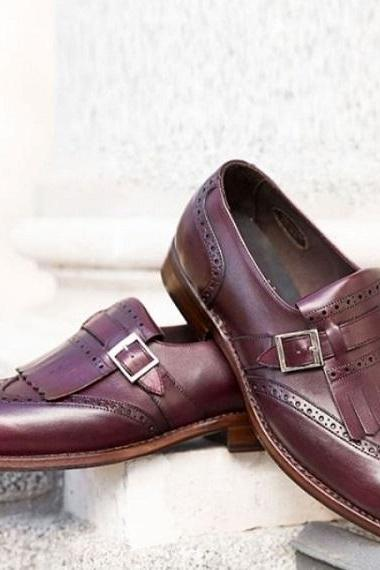 Handmade Men Rounded Brogue Toe Dark Maroon Genuine Leather Monk Men Classic Shoes