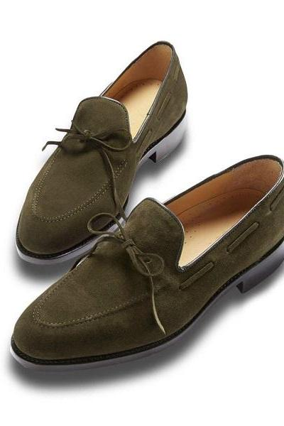 Men's Oilve Green Suede Shoes, Tassles Moccasin Decent Hand Craft Dress Shoes