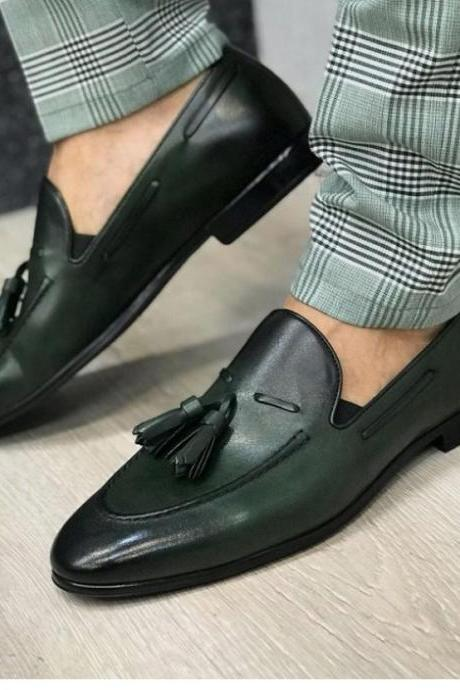 New Adult Handmade Green Black Tone Leather Tassels Loafer Slips On Moccasin Formal Dress Up Party Shoes