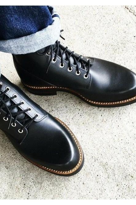 Pure Handmade Black Genuine Leather Lace up Ankle Boots for Men's