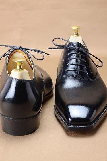 New Handmade Black Narrow Toe Leather Formal Decent Shoes