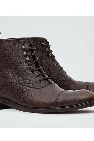 Handmade Brown Genuine Cow Leather Ankle Boot for Men's
