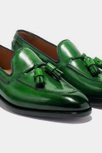 Handmade Men Green Loafer Tassels Shoes