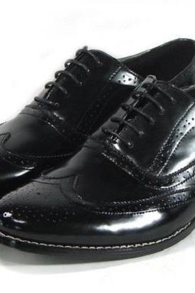 Black Wing Tip Brogues Toe Oxford Handmade Genuine Leather Party Wear Shoes