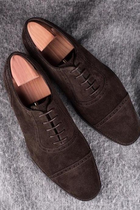 Handmade Men Brown Suede Shoes, Dress Formal Leather Shoes For Men