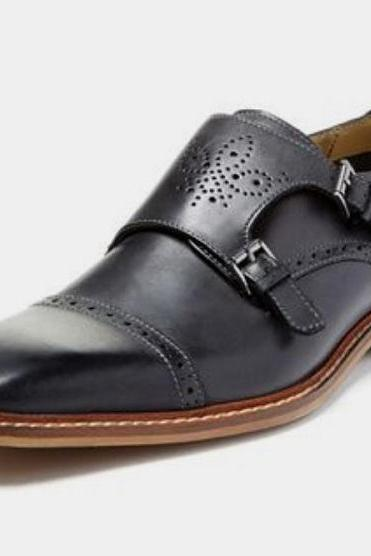 Handmade Men Black Oxford Monk Shoes, Black Leather Brogue Classic Formal Shoes