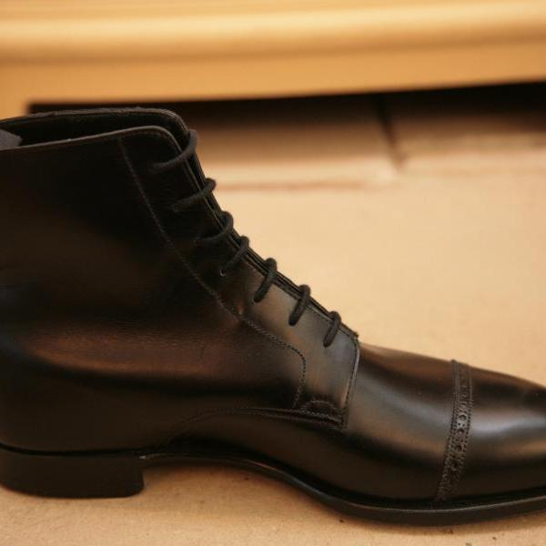 Handmade Men Oxford Dress Boot, Men Black Lace Up Ankle Leather Boots
