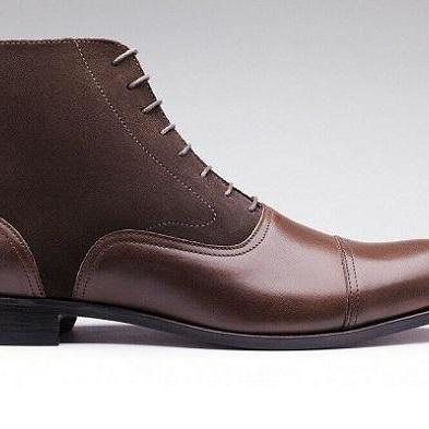 Handmade Men's Brown Leather and Suede High Ankle lace Up Two Tone Boots