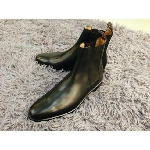 Handmade Men's Black High Ankle Leather Chelsea Boots