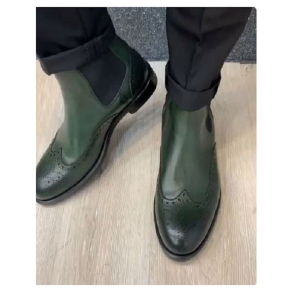Handmade men green Wing tip brogue chelsea boot, mens formal dress boots