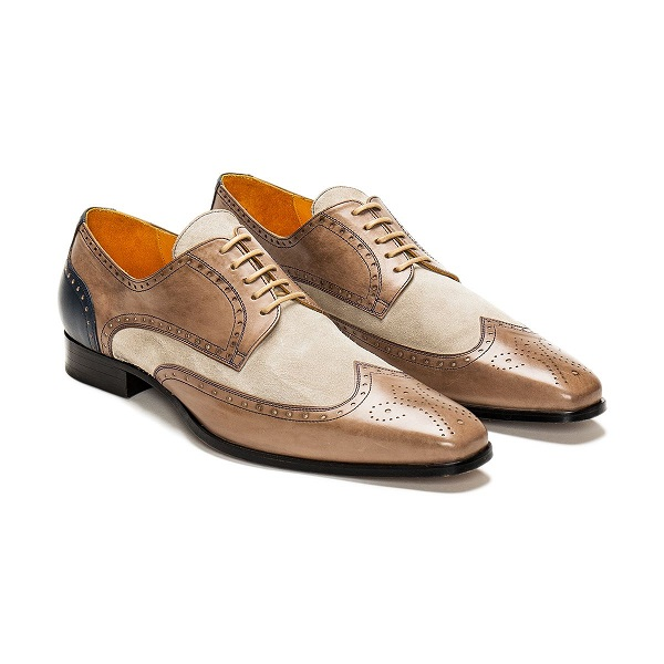 Oxford Beige and Brown Wing Tip Full Brogue Toe Suede Genuine Leather Lace Up Handcrafted Shoes