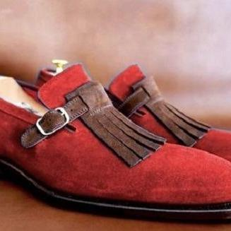 Red Suede Brown Monk Fringed Real Leather Derby Toe Handmade Fashion Shoes