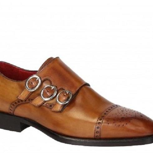 Monk Brown Triple Buckle Strap Rounded Brogue Cap Toe Genuine Leather Handmade Fashion Shoes
