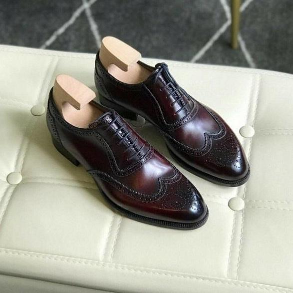 New Pure Handmade Burgundy Shaded Leather Lace up Brogue Shoes for Men