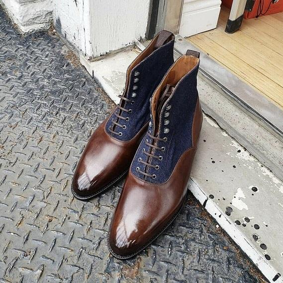 New Handmade Blue Jeans & Brown Leather Ankle Boots for Men