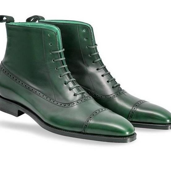 Green High Ankle Genuine Leather Handmade Rounded Derby Cap Toe Lace Up Boots