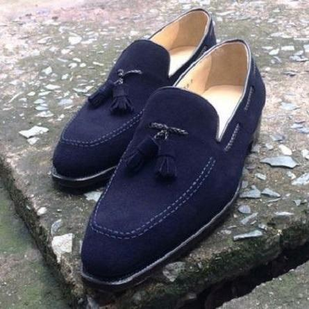 Handmade men navy blue shoes, moccasin shoes for men, suede dress party shoes