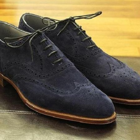 Handmade men navy blue suede shoes, men wingtip brogue shoes, dress shoe for men